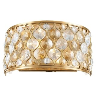 """Jewel Collection 2 Light Matte Gold Finish with Clear and Golden Teak Crystal Wall Sconce W12""""H6"""""""