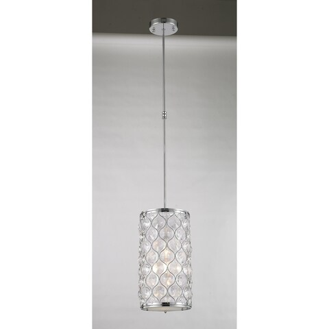 """Jewel Collection 1 Light Chrome Finish with Clear Crystal Mini Pendant D8""""xH15"""""""