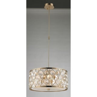 """Jewel Collection 4 Light Champagne Finish with Clear and Golden Teak Crystal Pendant D16""""H8"""""""