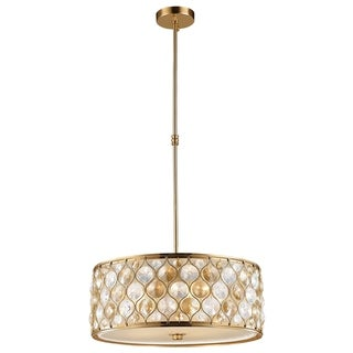 """Jewel Collection 5 Light Matte Gold Finish with Clear and Golden Teak Crystal Pendant D20""""H8"""""""