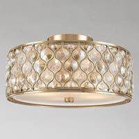 "Jewel Collection 4 Light Champagne Finish with Clear and Golden Teak Crystal Flush Mount Ceiling Light D16""H8"""