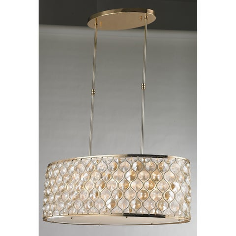 """Jewel Collection 12 Light Champagne Finish with Clear and Golden Teak Crystal Pendant L32"""" W16"""" H11"""""""