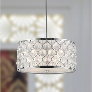 """Jewel Collection 4 Light Chrome Finish with Clear Crystal Pendant D16""""H8"""""""
