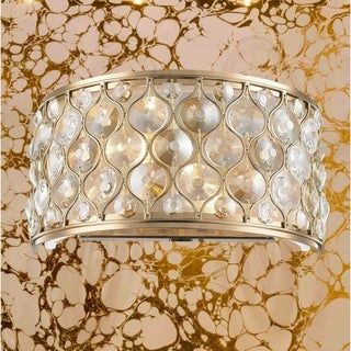 "Jewel Collection 2 Light Champagne Finish with Clear and Golden Teak Crystal Wall Sconce W12""H6"""