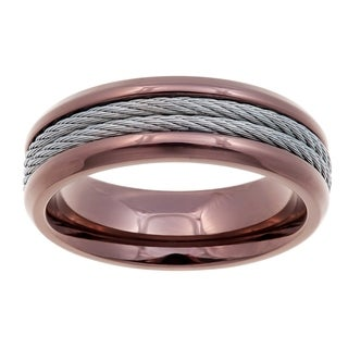 Brown Stainless Steel Ring with Steel Cable - Silver