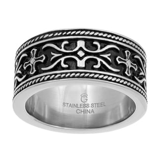 Stainless Steel Carved and Antiqued Ring - Silver