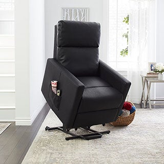 ProLounger Tuff Stuff Black Synthetic Leather Power Lift Chair Wall Hugger Recliner