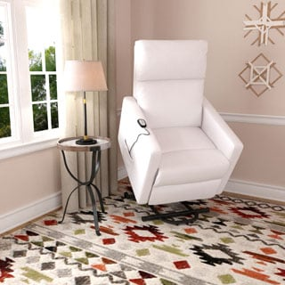 ProLounger Tuff Stuff White Synthetic Leather Power Lift Chair Wall Hugger Recliner