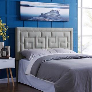 Handy Living DaVinci King/California King Grey Linen Upholstered Headboard