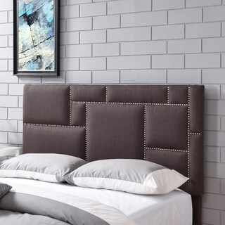 Handy Living Montreal King/California King Brown Linen Upholstered Headboard