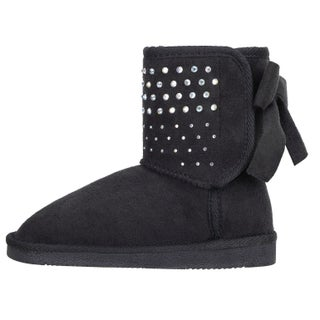Girls Faux Suede Sherpa Lined Winter Boot with Sequins and Bow (Option: Black - 1129)