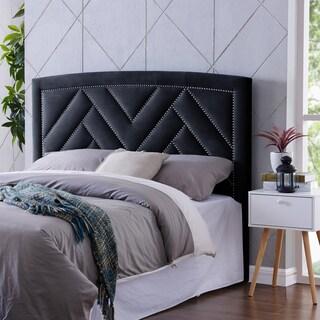 Handy Living Abingdon Navy Blue Velvet King/California King Upholstered Headboard