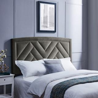 Handy Living Abingdon King/California King Mink Grey Velvet Upholstered Headboard