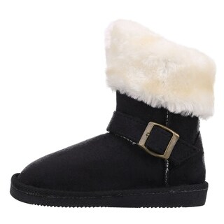 Kids Sherpa Lined Faux Suede Winter Boots with Buckle and Faux Fur Trim