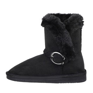 Kids' Sherpa Lined Faux Suede Winter Boots With Braided Buckle Trim