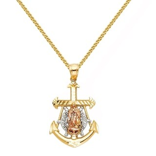 14k Tri-tone Gold Nautical Anchor Guadalupe Pendant and Wheat Chain Necklace