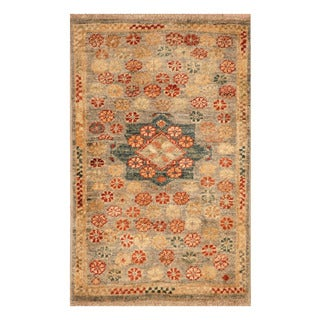 Handmade Herat Oriental Afghan Hand-knotted Vegetable Dye Wool Accent Rug (1'4 x 2'1)