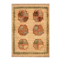 Handmade Herat Oriental Afghan Hand-knotted Vegetable Dye Wool Accent Rug (1'4 x 1'10)