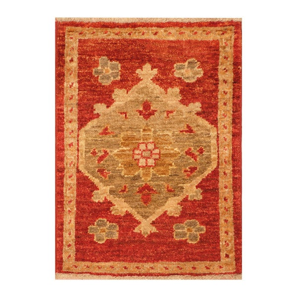 Handmade Herat Oriental Afghan Hand-knotted Vegetable Dye Wool Accent Rug (1'5 x 2')