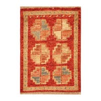 Handmade Herat Oriental Afghan Hand-knotted Vegetable Dye Wool Accent Rug - 1'5 x 2'