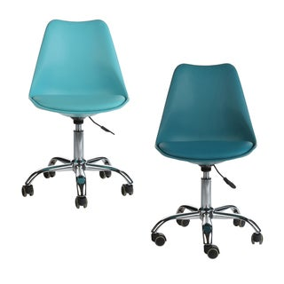 Mid-Century Modern Teal Leather Office Task Chair