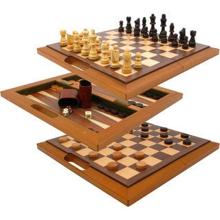 Deluxe Wooden 3-in-1 Chess, Backgammon & Checker Set