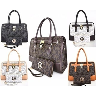 WK Collection 2-Piece Satchel Handbag and Wristlet Set