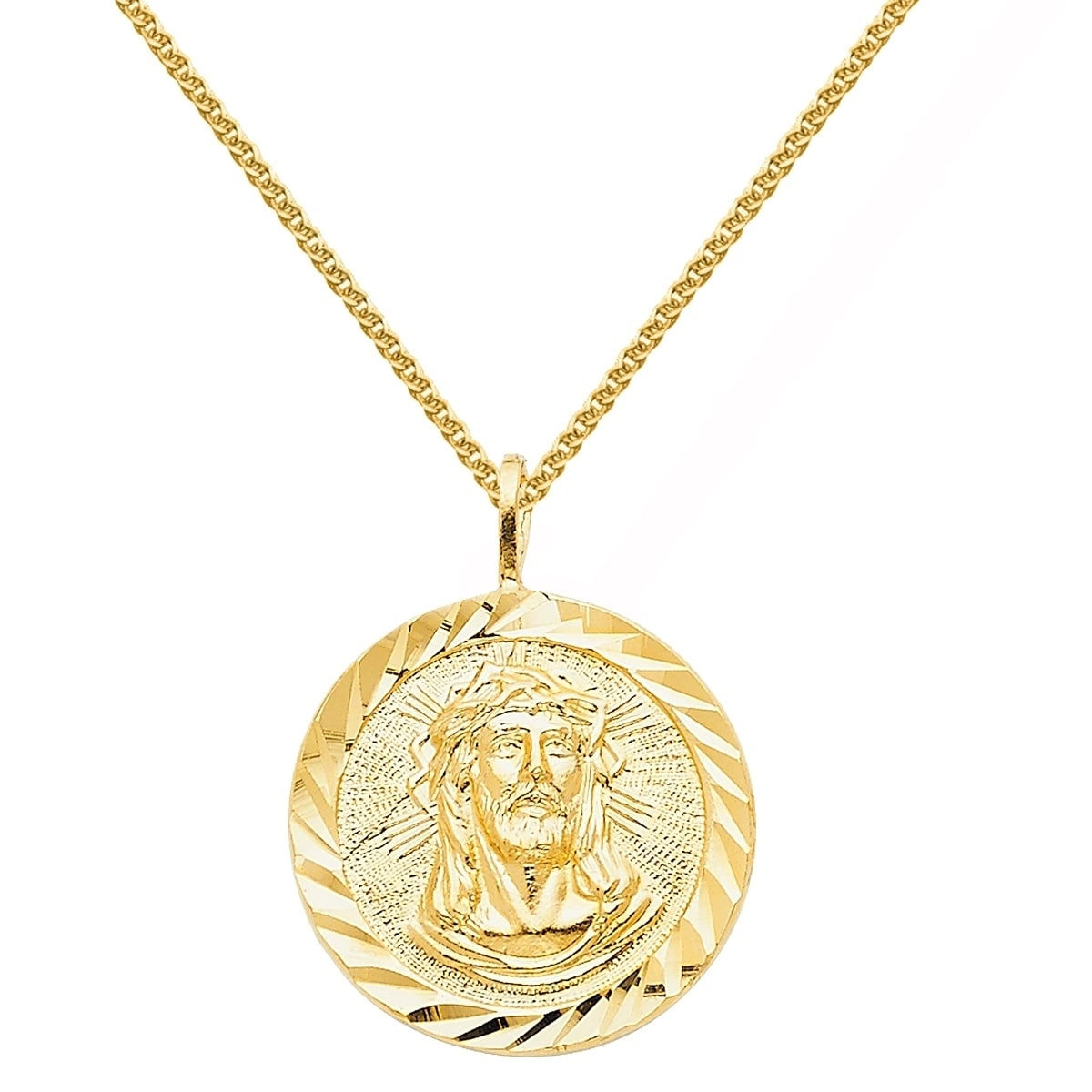 Shop 14k Yellow Gold Face Of Jesus Medallion Pendant And Wheat Chain Necklace On Sale Overstock 18096207