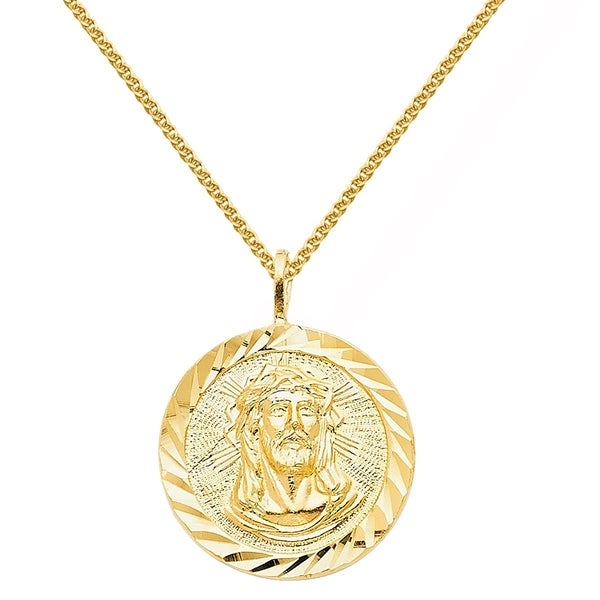 14k Yellow Gold Face of Jesus Medallion Pendant and Wheat Chain Necklace