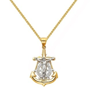 14k Two-tone Gold Nautical Anchor Jesus Pendant and Wheat Chain Necklace