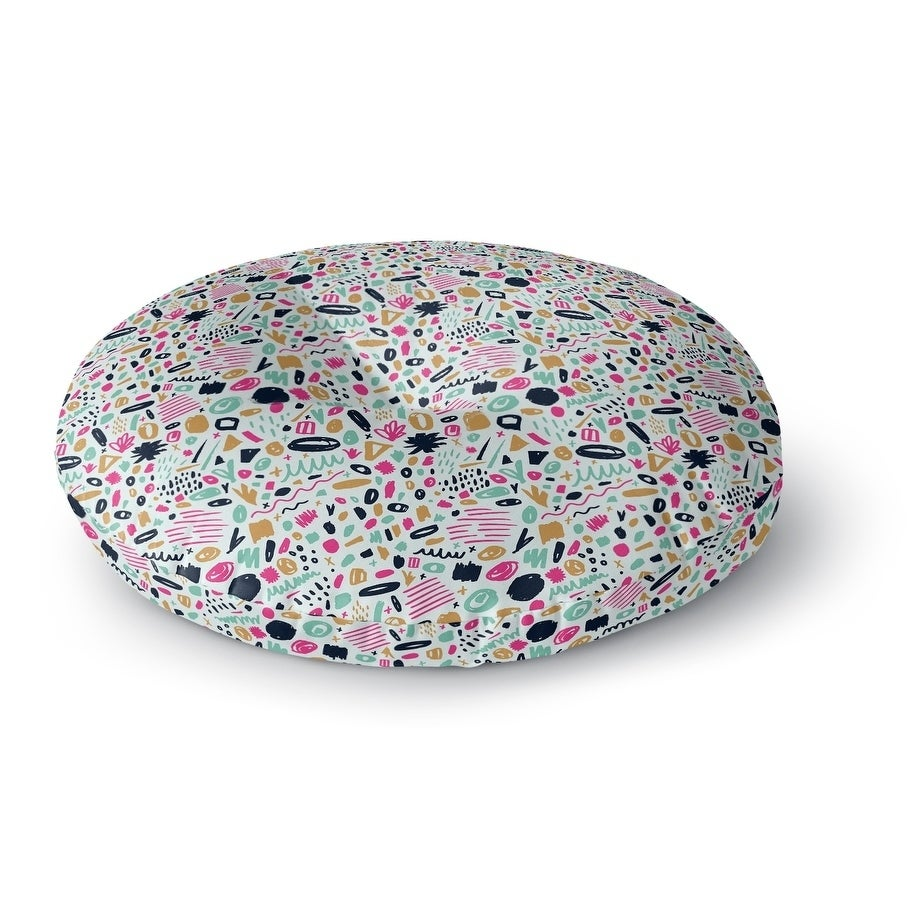 Kavka Designs Art Class  Pink/Green/Tan Floor Pillow (Round - 23 x 23)