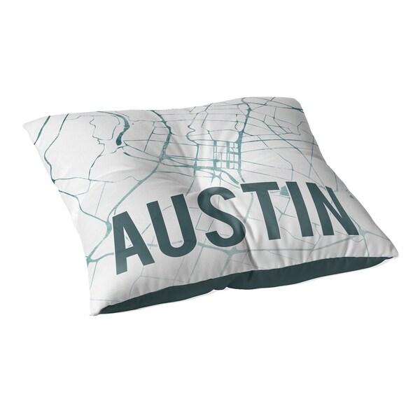 Kavka Designs Austin Teal Front Green/White Floor Pillow