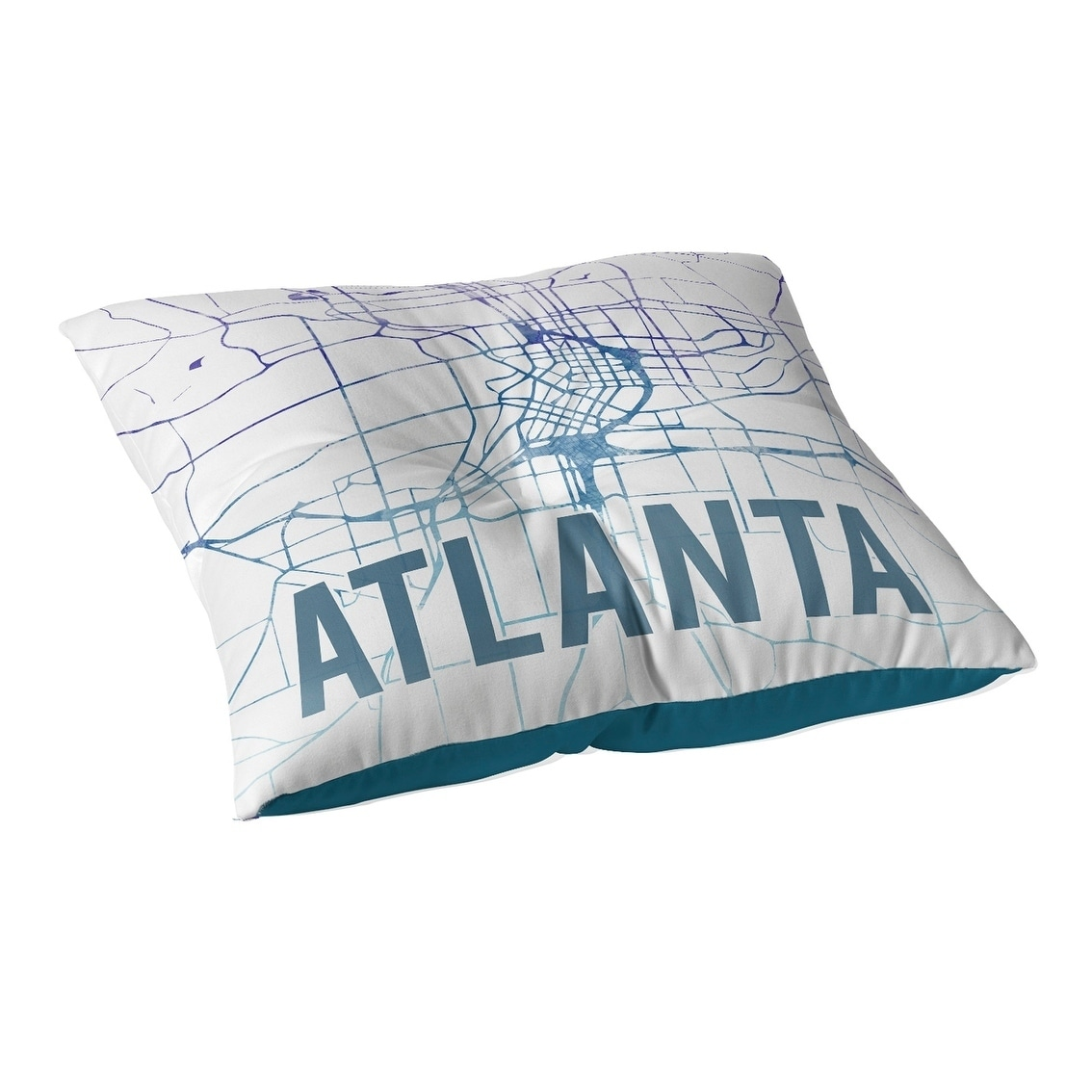 Kavka Designs Atlanta Purple Sunset Front  Blue/Purple/White Floor Pillow (Oversized - 26 x 26)