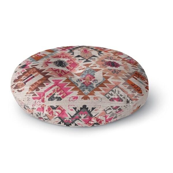 Kavka Designs Tangier Ivory/Pink/Brown/Peach/Grey Floor Pillow
