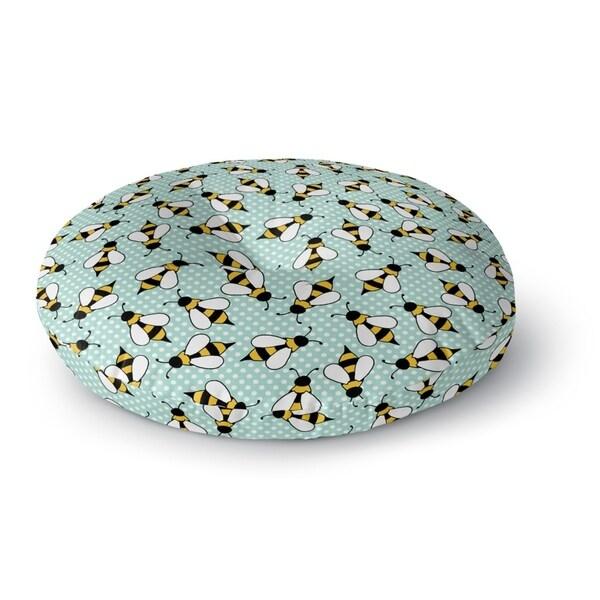Kavka Designs Bees Blue Floor Pillow