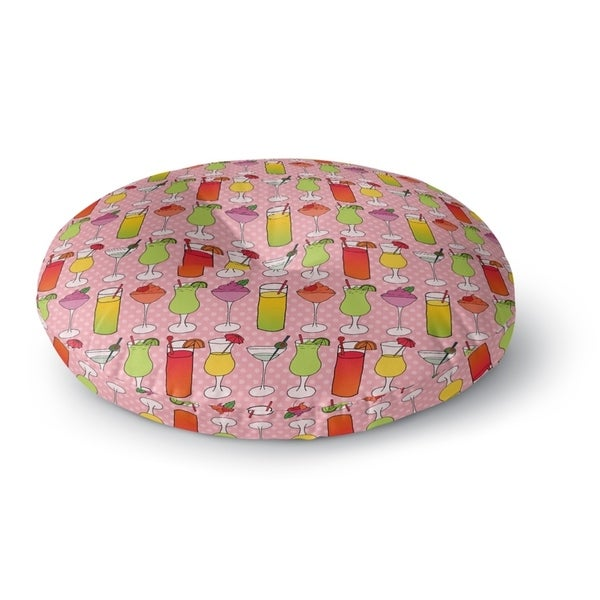 Kavka Designs Cocktails Pink/Yellow/Green Floor Pillow