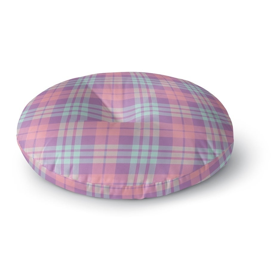 Kavka Designs Coffee Donut Plaid  Purple/Blue/Pink Floor Pillow (Square - 23 x 23)