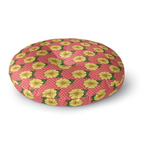Kavka Designs Hibiscus Green/Pink/Yellow Floor Pillow