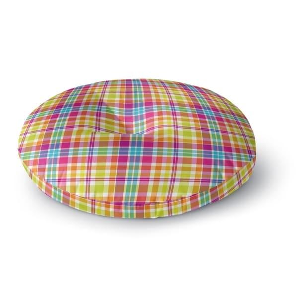 Kavka Designs Tropical Plaid Green/Purple/Pink/Blue Floor Pillow