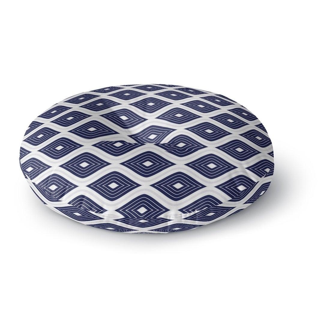Kavka Designs Ogee Inverted  Blue/White Floor Pillow (Round - 26 x 26)