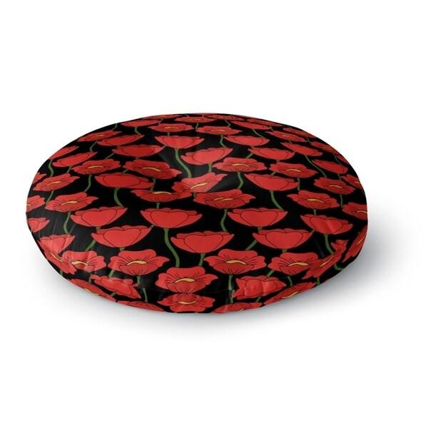 Kavka Designs Flanders Fields Red/Green/Black Floor Pillow