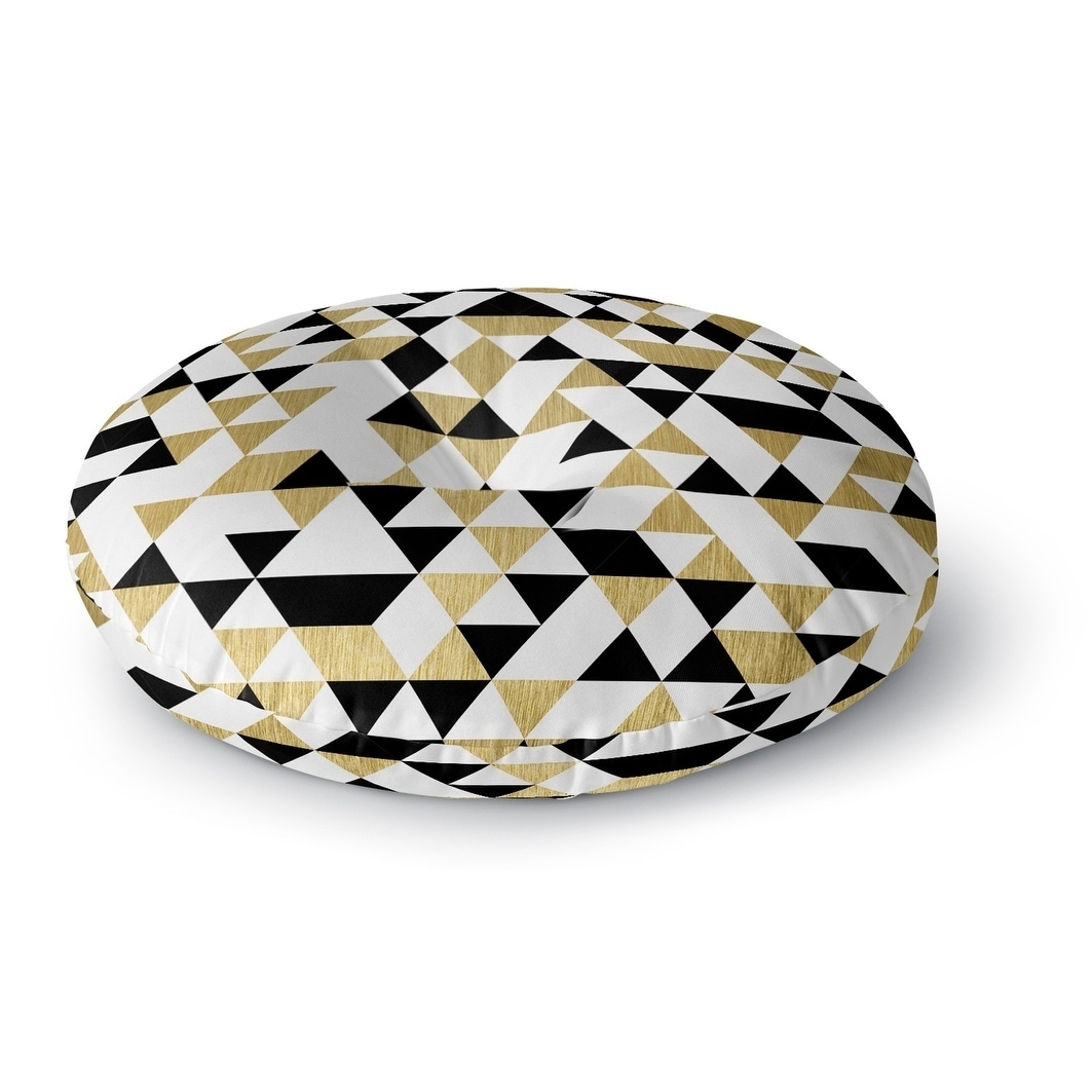 Kavka Designs Gold Black And White  Black/White/Gold Floor Pillow (Square - 26 x 26)
