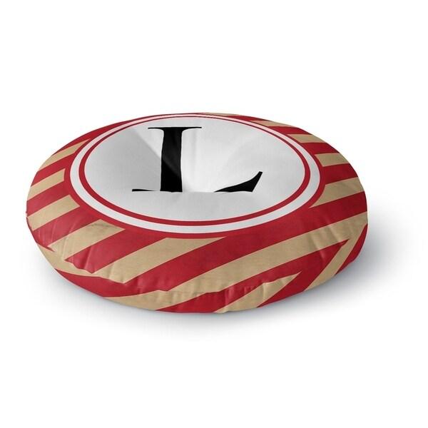 Kavka Designs Monogram Letter L Red/Ivory Floor Pillow