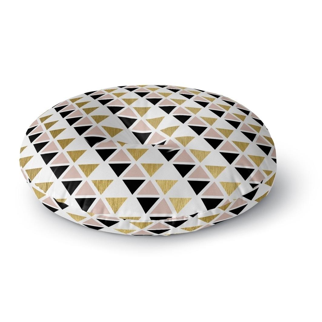 Kavka Designs Gold Black Pink And White  Black/White/Gold Floor Pillow (Round - 26 x 26)