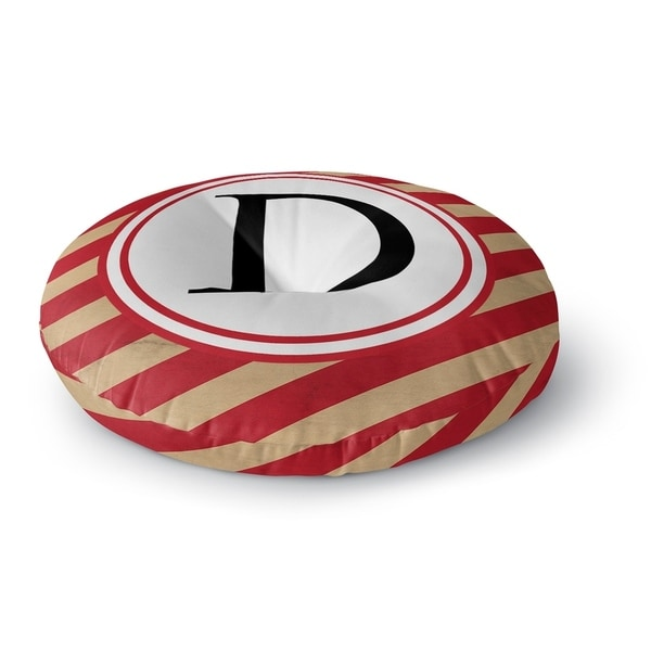 Kavka Designs Monogram Letter D Red/Ivory Floor Pillow
