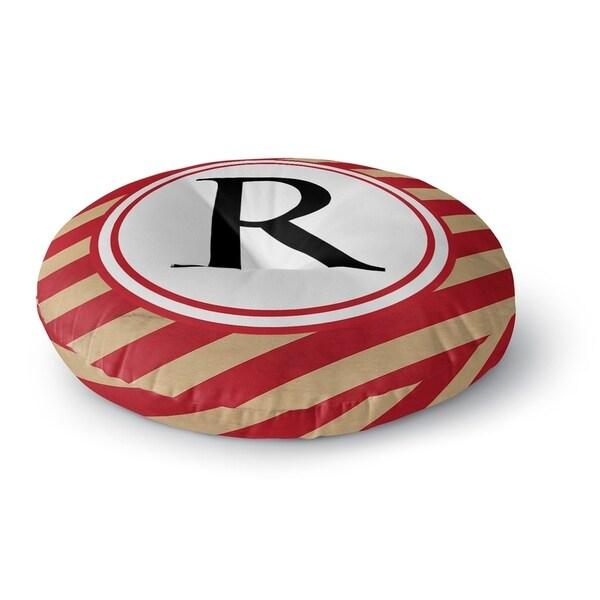 Kavka Designs Monogram Letter R Red/Ivory Floor Pillow