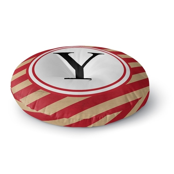 Kavka Designs Monogram Letter Y Red/Ivory Floor Pillow