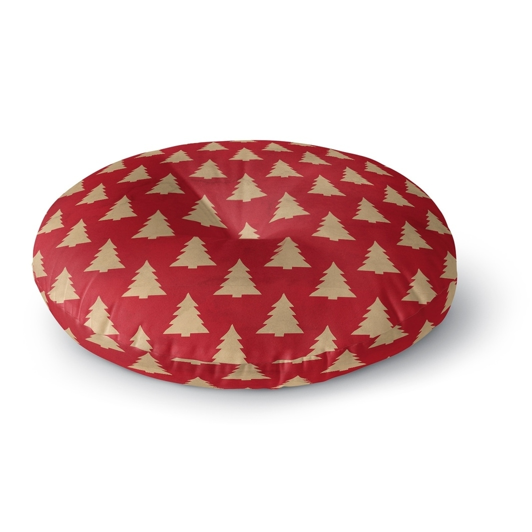 Kavka Designs Christmas Tree  Red/Beige Floor Pillow (Square - 26 x 26)