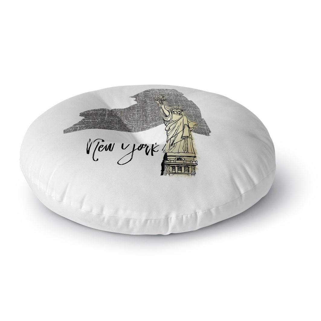 Kavka Designs New York  Grey/Gold/White Floor Pillow (Round - 23 x 23)