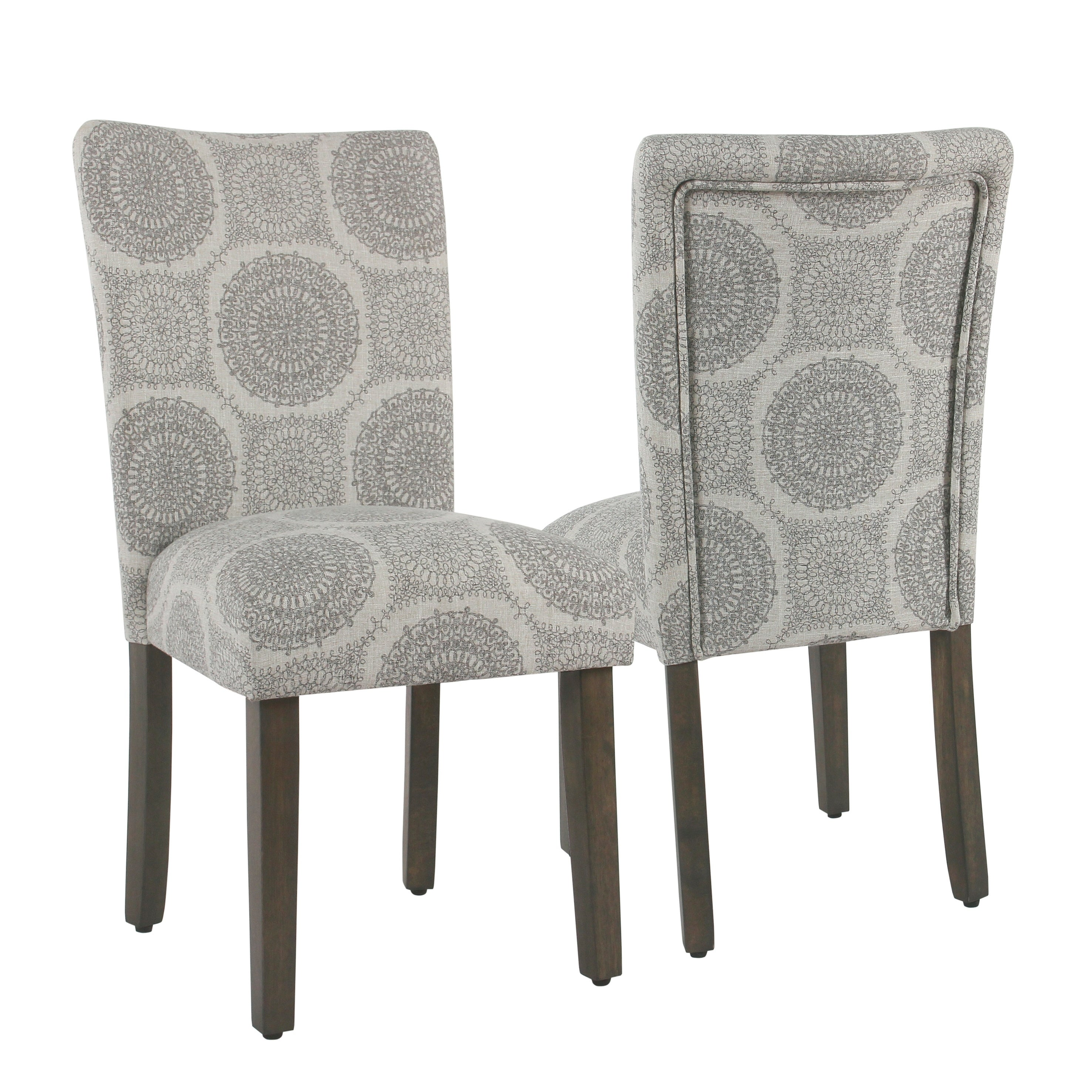 HomePop Parsons Dining Chair - Gray Medallion (set of 2) (Grey)